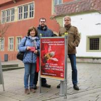 Info-Stand von SPD und Grünen zum Volksbegehren